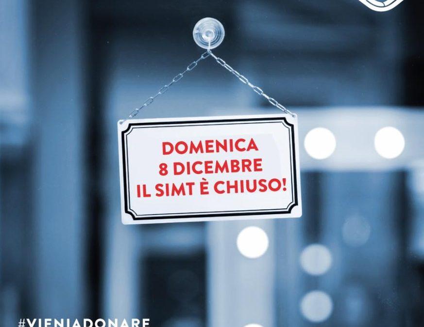 Chiusura Servizio IMmuno Trasfusionale domenica 8 Dicembre 2019