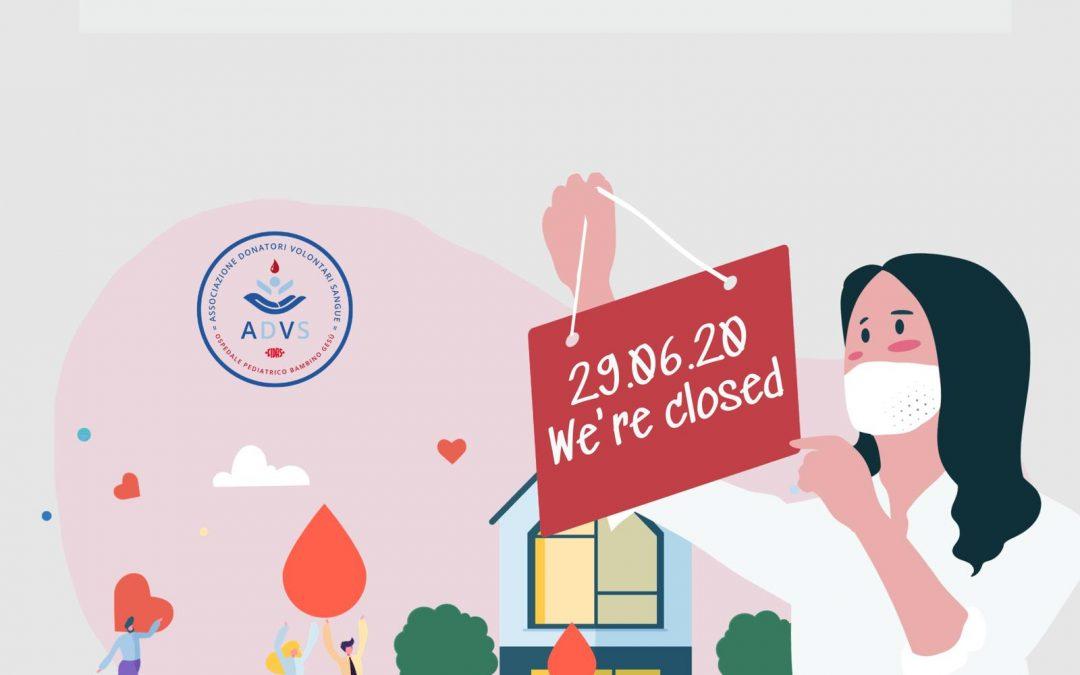 Chiusura del Centro Trasfusionale per il 29 giugno 2020