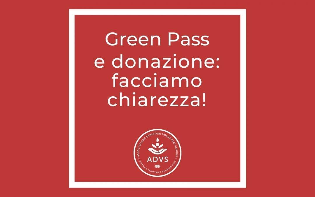 Green Pass e donazione del sangue: facciamo chiarezza!